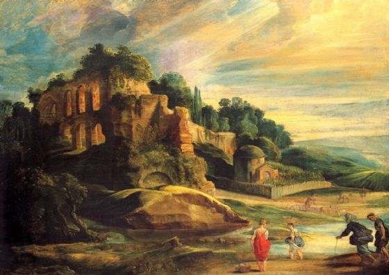 Rubens, Peter Paul: Landscape with the Ruins of Mount Palatine. Fine Art Print/Poster. Sizes: A1/A2/A3/A4 (001216)